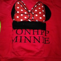 Baju Anak Branded Import Fashion Girls Setelan Korea Minnie Red Pita