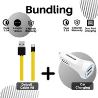 Bundling - Delcell kabel V8 Micro 100cm + Car charger Delcell 2.2 A