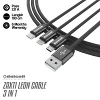 Delcell Kabel LEON Cable Charging 3 in 1 2A Fast Charge 100cm