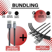 Promo Bundling Kabel Delcell Leon 3in1 100cm + Braided micro 2nd 200cm