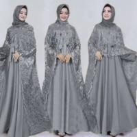 Gamis pesta brokat cape mewah elegan bridal muslim pengantin lamaran