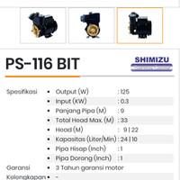 mesin sedot air SHIMIZU PS-116 BIT DAYA HISAP 9 METER SUMUR DANGKAL