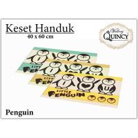 Keset Handuk Merk Quincy Vallery - Motif Penguin Pink