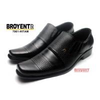 Sepatu Pantofel Pria Kulit Asli kombinasi motif tikar 7961