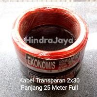 Kabel Listrik / Kabel Audio Transparan 2x30 Panjang 25M Full