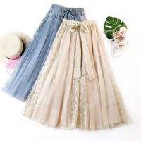 Korea dari renda ukuran besar wanita rok tutu temperamen panjang