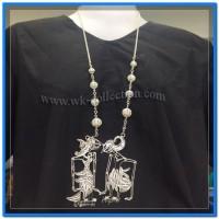 Kalung Wayang Arjuna Srikandi Model Krawangan-Sepuh Perak (WN2B)