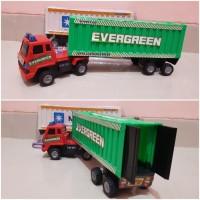 Mainan mobil truck kontainer peti kemas trailer dorong edukasi anak