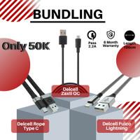 Promo Bundling Kabel Delcell Qc 125cm + Rope type C + Fulco Lighthning