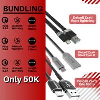 Promo Bundling kabel delcell Rope lightning + Eno micro + Steel Type C
