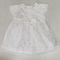 Bear Brokat Dress Baju Rok Terusan Anak Bayi Cantik Katun Putih Lembut