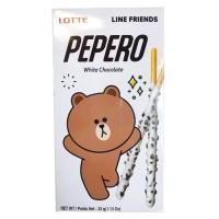 PEPERO WHITE COOKIES LINE FRIENDS 32gr-STICK BISKUIT BERLAPIS COKELAT