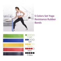 SET Five Colors Yoga Resistance Rubber Bands Fitness Pilates Yoga gym