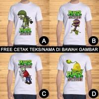 Kaos Dewasa Plants vs. Zombies Pria Wanita Kartun Custom Teks/Nama
