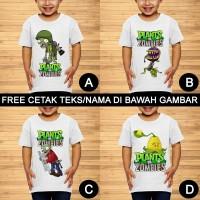 Plants vs. Zombies Game Baju Kaos Anak dan Balita Custom Teks/Nama