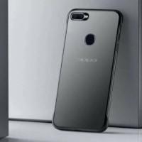 Case Oppo A7 Hardcase Frameless Transparan Matte Finger Ring - Hitam