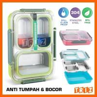 Jual Lunch Box / Kotak Makan Stainless Steel Anti Bocor Tumpah 3 Sekat
