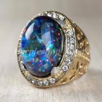 cincin batu akik black opal kalimaya mewah aksesoris pria murah