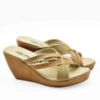Sandal wedges 7cm slip bermotif mutiara 1523-05