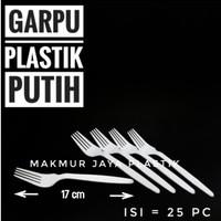 [ GARPU PUTIH - ISI 25 PC ] GARPU PLASTIK PUTIH