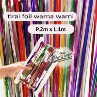 tirai foil warna warni backdrop foil fringe curtain background pelangi