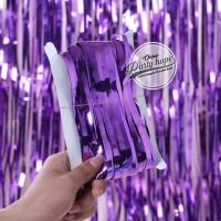 tirai foil ungu backdrop foil fringe curtain background dekorasi ungu