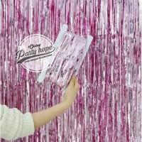 tirai foil pink muda / backdrop foil fringe curtain background dekor
