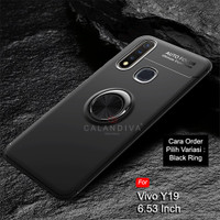 Calandiva Vivo Y19 Soft Case Casing Ultimate Ring Kickstand Hybrid