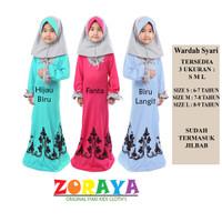 Wardah Dress Gamis Anak Perempuan 4 5 6 Tahun Baju Muslim Hijab Syari