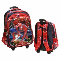 Tas Troli Anak sekolah SD Trolley spiderman 5D jaring laba 3kantong