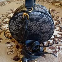 tas bulat full songket khas palembang hitam silver