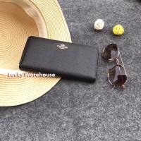 Coach Zip Wallet Leather Black - Ori 100%