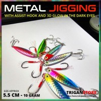 Umpan Metal Jig With Assist Hook Glow Eye 10 Gram Pancing Jigging