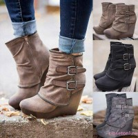 Lucu Women Heels Boots High Wedges Casual Ujung Lancip dengan