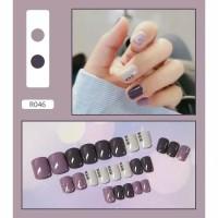 kuku palsu warna ungu / kuku motif cantik / kupal / kukupalsu / nails