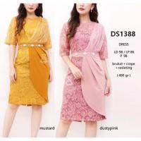 DS1388 - DRESS PESTA DRESS LACE MIDI DRESS PAYET BORDIR MEWAH IMPORT