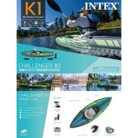 Perahu Karet Dayung Plus Pompa Challenger K1 Kayak Intex 68305