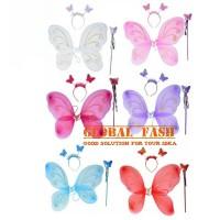 set mahkota peri / fairy crown set / mahkota tongkat sayap kupu kupu