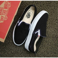 sepatu vans slip on black white Vault OG vans slipon classic
