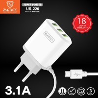 Adaptor Charger ZAGBOX 3Usb + cable Fast Charge 2.4A SuperPower US-220