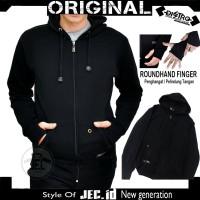 Jaket Sweater Hoodie Polos Hitam JEC Motif Roundhand Full Premium
