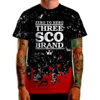 Kaos distro 3 three second brand surfing fullprint premium