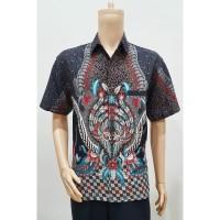 Kemeja Hem Atasan Baju Seragam Pria Batik Murah 2784 Abu BIG SIZE