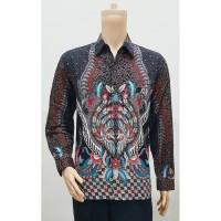 Kemeja Baju Seragam Pria Batik Lengan Panjang 2785 Abu BIG SIZE