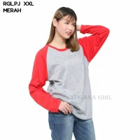 RGL.PJ Baju Kaos T-Shirt Raglan Jumbo Lengan Panjang Murah Wanita