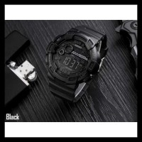 Jam Tangan Cowok Pria Original Skmei Compass Led Anti Air Full Black