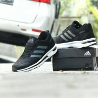 Sepatu Pria Sport Casual Adidas Zoom Running Hitam Abu Sneakers Santai