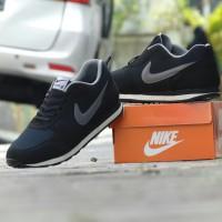 (JUMBO) Sepatu Pria Sport Nike Waffle Trainer Hitam Abu Casual Santai