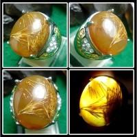 Batu Cendana Serat Emas / Kecubung Serat Emas + Ring