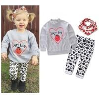 [Bayar Di Tempat]Kid Girl Baby Kids Top+ Long Pants+ Headband Suits